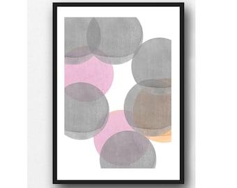 Moon Art, Abstract Watercolor Print, Abstract Minimal Art, Minimalist Art , Scandinavian Design, Modern Home Decor