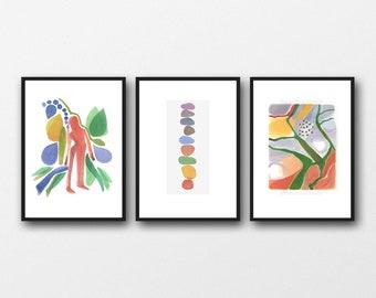 Set of 3 Watercolor Prints, Wanderlust Wall Art, Living Room Decor, Abstract Modern Art, Set of 3 Watercolor Prints