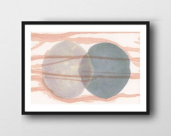 Connected Art Print, Abstract Watercolor Print, Abstract Minimal Bedroom Art, Minimalist Art, Scandinavian Design