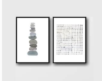 Set of 2 Prints, Minimalist Abstract Prints, Monochrome Gray Wall Art, Scandinavian Art Prints, Minimalist Art,