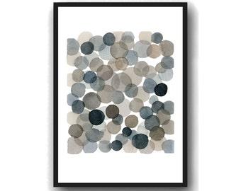 Giclee Art Print, Abstract Watercolor Painting, Black Circles
