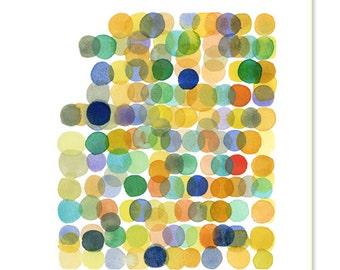 Watercolor yellow dots colorful wall decor watercolor print abstract watercolor painting