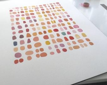 "Original Abstract Watercolor Painting, Pebble Painting, Aquarelle 18 x 24""  ooak"