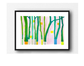 Landscape Art, Forest Wall Art, Abstract Watercolor Painting, Green Nature Trees