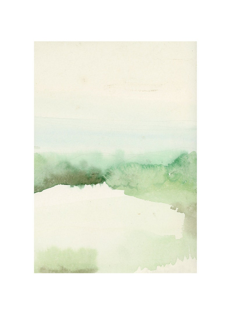 Landscape painting watercolor painting green shore The 8.3 x 11.7 inches