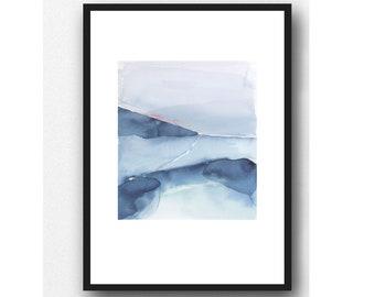 Landscape Painting, Fine Art Print, Blue landscape Watercolor Painting, Beach House Decor