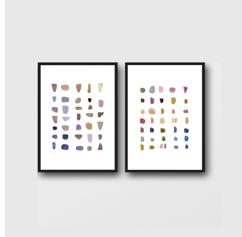 Minimalist Wall Art Watercolor Paintings Prints Set of two A4 8.3 x 11.7 inches