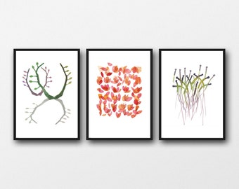 Set of 3 Watercolor prints, Natural Kitchen Art Decor, Gift for her