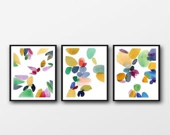 Set of 3 Prints, watercolor prints, Colorful Wall Art,  Colorful Art Print Set, Living Room Wall Art