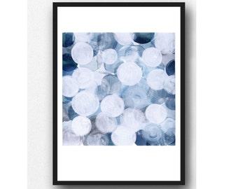 Blue bubbles white blue acrylic painting  indigo blue painting, modern home decor, giclee print blue