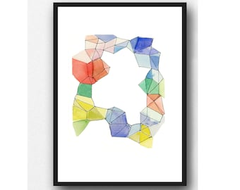 Abstract Watercolor Print, Geometrical print, colorful painting, Contemporary Wall Art