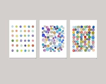 Wall Art Set of 3, Colorful Abstract Art Prints, Circle Art, Nursery decor