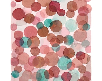 Abstract Watercolor art print red green bubbles watercolor painting