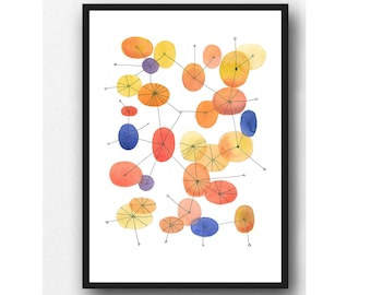 Mid Century art print, Connecting the dots, geometrical wall art, watercolor print  scandinavian art, wall art