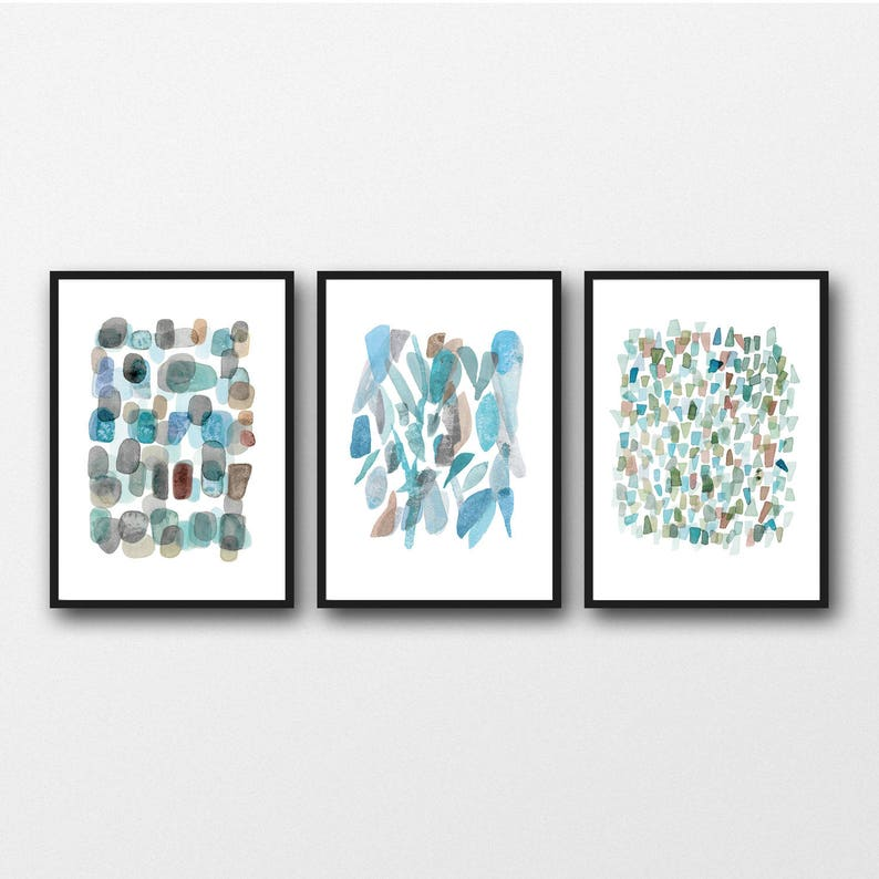 515b484234c0c Sea Glass Watercolor Wall Art Prints, Abstract Watercolor art, Set of 3  Prints, Blue Green, Abstract Paintings
