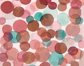 Abstract Watercolor painting, Fine art print with red and green circles
