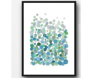 Abstract print, watercolor art print, teal green abstract watercolor painting, modern fine art prints