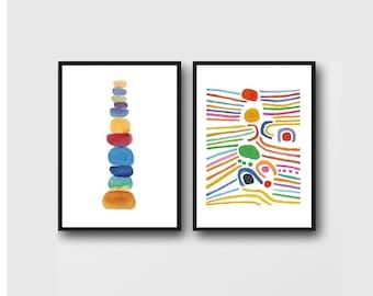 Set of 2 prints, Colorful Wall Art, Nursery Art, Kids room, Nursery Decor