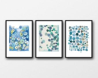 Set of 3 Watercolor Prints, Blue wall Art, Living Room Decor, Abstract Modern Art, Set of 3 Watercolor Prints