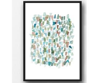 Green Wall Art, Beach House Decor, Sea Glass Art Print, Abstract Watercolor Painting