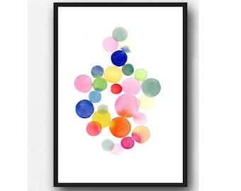 Colorful Watercolor Painting, nursery decor, abstract wall art, watercolor print, nursery room decor