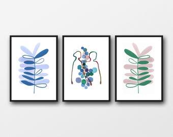 Bedroom Wall Art, Wedding Gift for Couples, Watercolor prints, Set of 3 prints, Scandinavian Bedroom Decor, Botanical Abstract Art