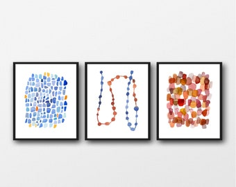 Set of 3 prints, Office Decor, watercolor blue red, watercolor paintings red blue,  abstract art prints