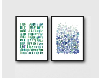 Abstract Watercolor Prints,  Set of 2 Watercolor Paintings. Blue - Green Home Decor