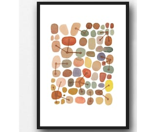 Abstract Watercolor Painting, Brown Pebbles Art Print, Connections, Wall Art
