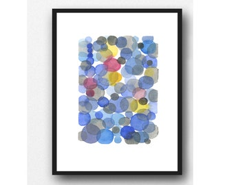 Original Watercolor Painting, Abstract Blue-Yellow and Red Circles Painting, One of a kind