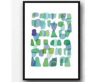 Sea Glass art print blue green, abstract watercolor painting green blue, watercolor print
