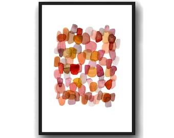 Burnt Orange Watercolor painting, Watercolor Art Print, Pebble Art