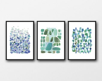 Set of 3 prints, Office Decor, watercolor blue green, watercolor paintings green blue,  abstract art nautical style