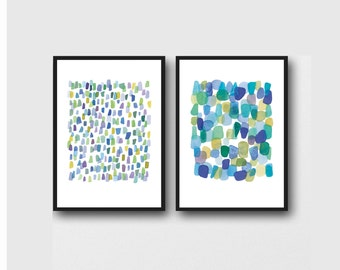 Abstract Painting Set of 2, Blue Green Watercolor Paintings,  Abstract Beach Painting, Sea Glass Art Prints
