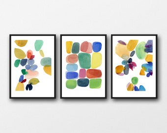 Abstract Watercolor Art Paintings, Colorful Wall Art, Set of 3 Watercolor Prints Red, Green, Blue, Yellow