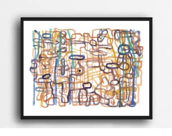 Original Watercolor Painting, Abstract Art Labyrinth 9 x 12 inches