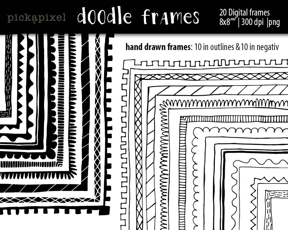 Hand gezeichnet Rahmen quadratische Rahmen Clipart digitale | Etsy