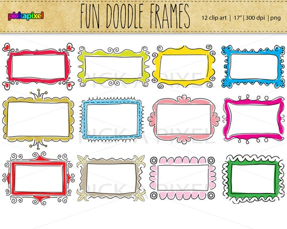 Digital Doodle Fun Frames clip art Personal and Commercial