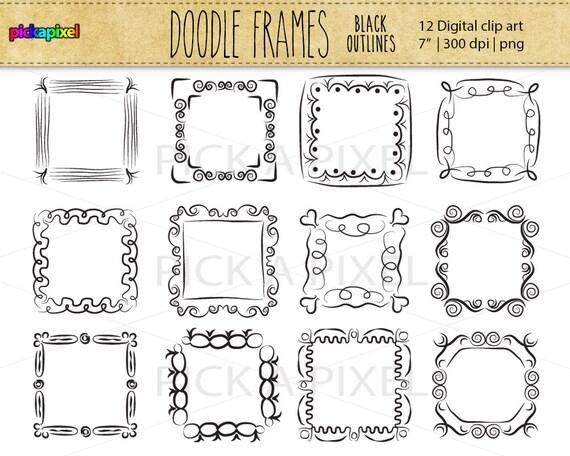 Square Doodle Fun Frames black outline clip art Personal | Etsy