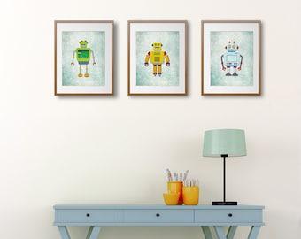 Retro Robots Posters - Printable Wall Decor - Digital Art Print - Nursery Decor - Robots Illustration