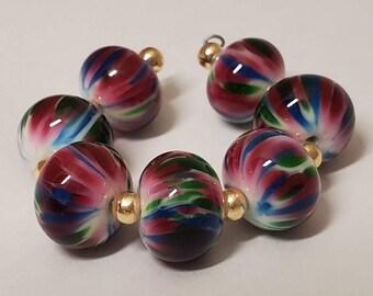 Handmade Glass Artisan Lampwork Beads- Hawaiian Garden