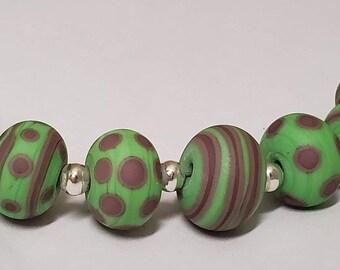 Handmade Glass Artisan Lampwork Beads- PLUM JEALOUS-