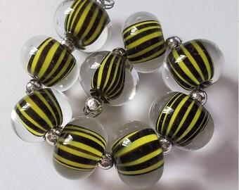 Handmade Glass Artisan Lampwork Beads-BUSY BEE