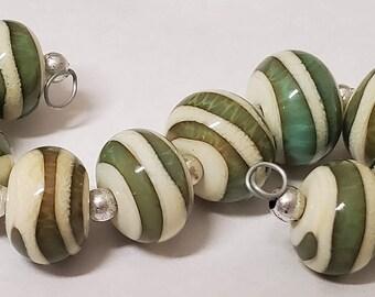 Handmade Glass Artisan Lampwork Beads- SAND and SEA-