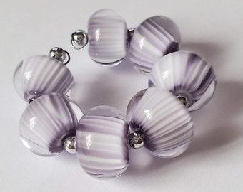 Handmade Glass Artisan Lampwork Beads-PURPLE PINSTRIPES