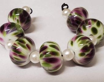Handmade Glass Artisan Lampwork Beads-Spring Violet-