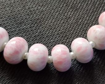 Handmade Glass Artisan Lampwork Beads-Pink sprinkles -