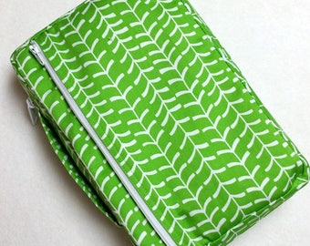 Bible Cover Custom Fit Green and White Your Book Measurements Required
