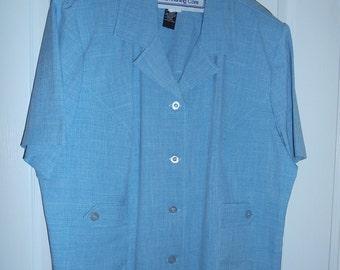 Woman's Pant Suit, Blue 2 piece suit, Plus Size 24, by Nanas Vintage Shop