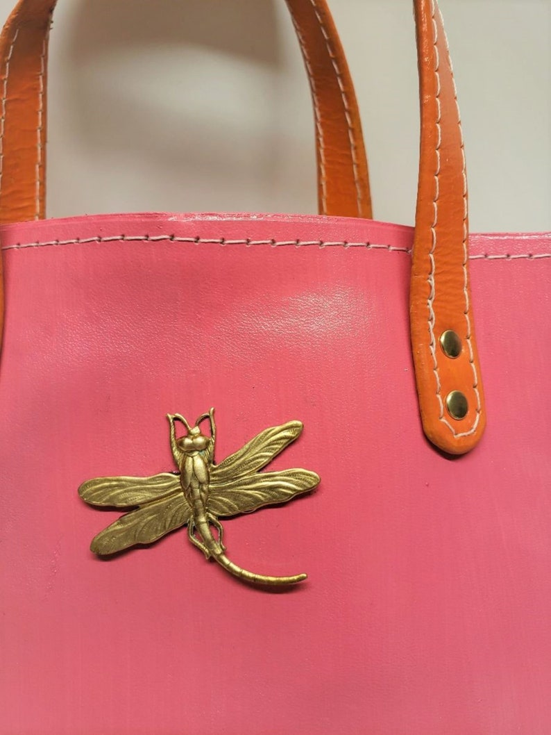 Pink and Orange Leather Box Bag with Brass Dragonfly